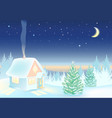night winter landscape with house and forest vector image vector image