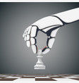 robot arm holding a chess pawn vector image vector image