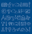 school supplies handdrawn icons vector image vector image