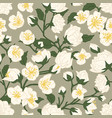 seamless pattern blossomed white jasmine vector image