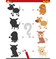 shadow game with puppies vector image vector image