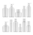 simple blank white plastic cosmetic bottles set vector image vector image