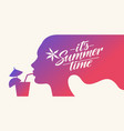 stylish summer poster silhouette a girl with a vector image
