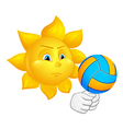 sun is playing volleyball vector image vector image