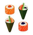 sushi types - rolls temakiraw fish caviar rice vector image vector image
