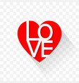 the red heart icon design with the word love vector image vector image