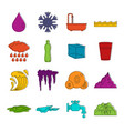 water icons doodle set vector image vector image