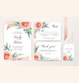 wedding invite rsvp card floral blush peach color vector image vector image