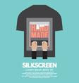 Worker Do Silkscreening On T-Shirt vector image