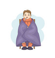 young male character cartoon cold isolated on vector image vector image