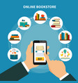 online book store composition vector image