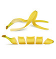 3d realistic banana pile and slices vector image