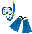 Blue swimming equipment vector image