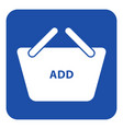 blue white sign - shopping basket add icon vector image vector image