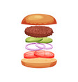 burger with flying ingredients tomatoes onion vector image