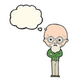 cartoon annoyed old man with thought bubble vector image vector image
