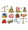 cartoon business set scales stack coins sack vector image vector image
