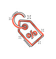cartoon discount percent tag icon in comic style vector image vector image