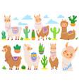 cartoon mexican alpaca funny llamas cartoon cute vector image