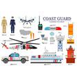 coast guard day flat icoms set guarding the order vector image vector image