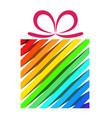 colorful ribbon gift box holiday logo concept vector image vector image