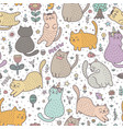 cute cats in summer seamless pattern vector image vector image