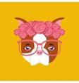 cute dog pet with flower and glasses heart vector image