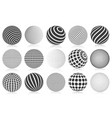 dotted halftone 3d sphere striped vector image vector image