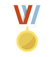 empty golden medal hangs on striped ribbon vector image vector image