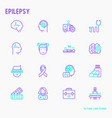 epilepsy thin line icons set of symptoms vector image