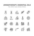 essential oils aromatherapy flat line icons vector image vector image