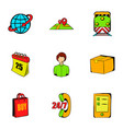 export icons set cartoon style vector image