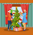 family christmas evening scene vector image vector image