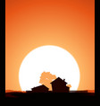 farm in the sunset vector image