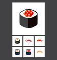 flat icon sushi set of sashimi seafood eating vector image