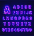 fluorescent neon font on dark background vector image vector image