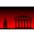 Greek temple at sunset vector image vector image