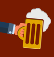 hand hold a glass of beer vector image vector image