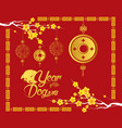 happy chinese new year 2018 card gold coin year vector image