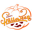 happy halloween text greeting card on orange vector image vector image