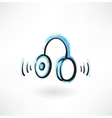 headphones grunge icon vector image vector image