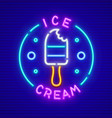 ice-cream at stick neon icon vector image vector image