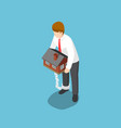 isometric businessman carrying home that chained vector image vector image