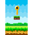 key game pixelated icon design vector image