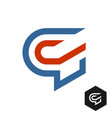 letter g tech or sport theme logo red and blue vector image