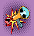 mouth screaming into a megaphone vector image vector image
