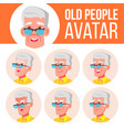 old man avatar set face emotions senior vector image vector image