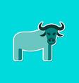 paper sticker on stylish background cartoon bull vector image