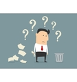 Perplexed confused businessman vector image