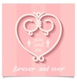 Pink valentine with heart of lines vector image
